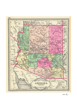 Vintage Map of Arizona (1881)