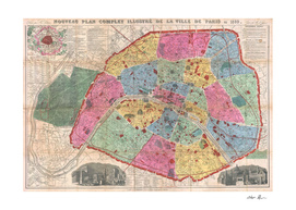 Vintage Map of Paris France (1889)