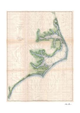 Vintage Map of The North Carolina Coast (1875)