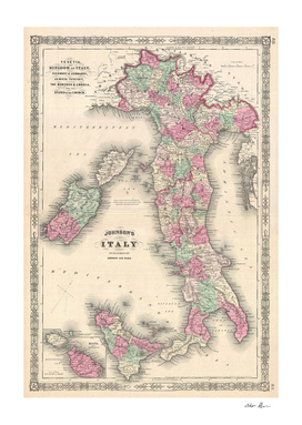 Vintage Map of Italy (1864)