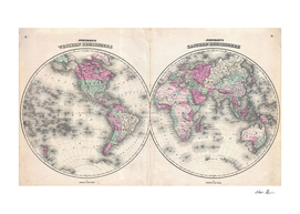 Vintage Map of The World (1862) 2
