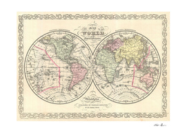 Vintage Map of The World (1856)