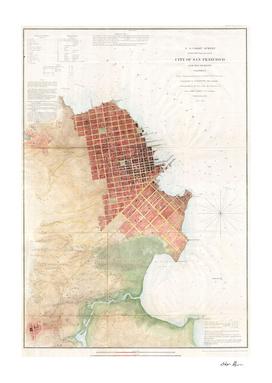 Vintage Map of San Francisco CA (1853)