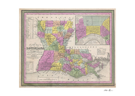 Vintage Map of Louisiana (1853)