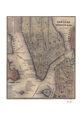 Vintage Map of Lower Manhattan (1847)