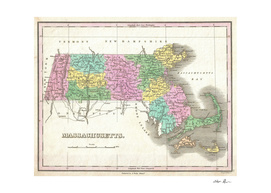 Vintage Map of Massachusetts (1827)