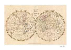Vintage Map of The World (1799) 3