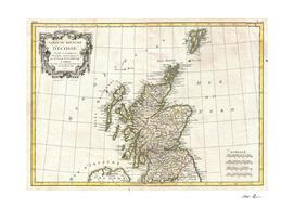 Vintage Map of Scotland (1772)