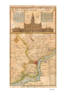 Vintage Map of Philadelphia PA (1850)