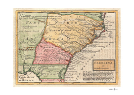 Vintage Map of The Carolinas (1746)