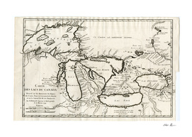 Vintage Map of The Great Lakes (1744)