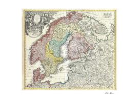 Vintage Map of Scandinavia (1730)