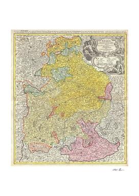Vintage Map of Bavaria Germany (1728)