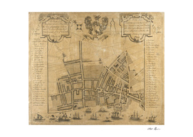 Vintage Map of Liverpool England (1725)