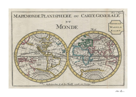 Vintage Map of The World (1706)