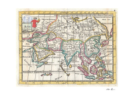 Vintage Map of Asia (1706)