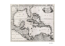 Vintage Map of The Caribbean (1696)
