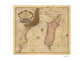 Vintage Map of Madagascar (1679)