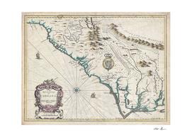 Vintage Map of North Carolina (1676)