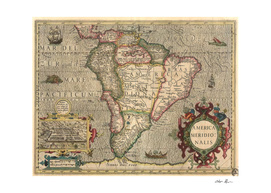 Vintage Map of South America (1606)