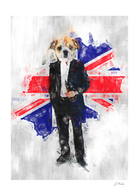 English Bulldog and Great Britain flag sketch
