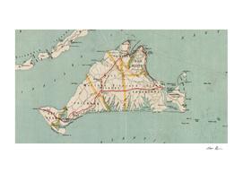 Vintage Map of Martha's Vineyard (1917)
