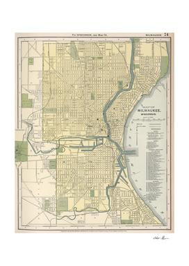 Vintage Map of Milwaukee Wisconsin (1891)