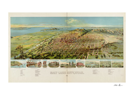 Vintage Pictorial Map of Salt Lake City Utah (1891)