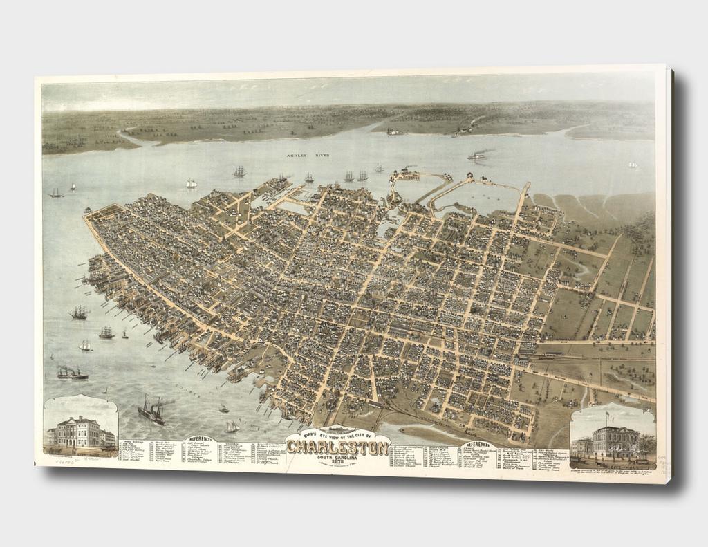 Vintage Pictorial Map of Charleston South Carolina (1872)