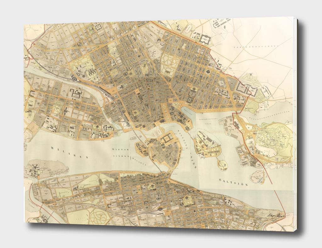 Vintage Map of Stockholm Sweden (1899)