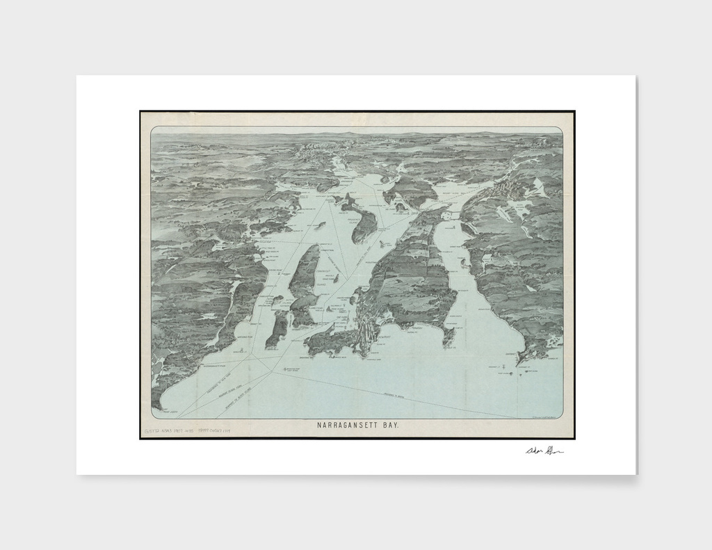 Vintage Map of Narragansett Bay RI (1907)