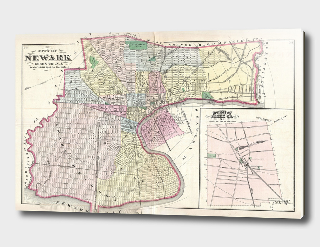 Vintage Map of Newark New Jersey (1872)