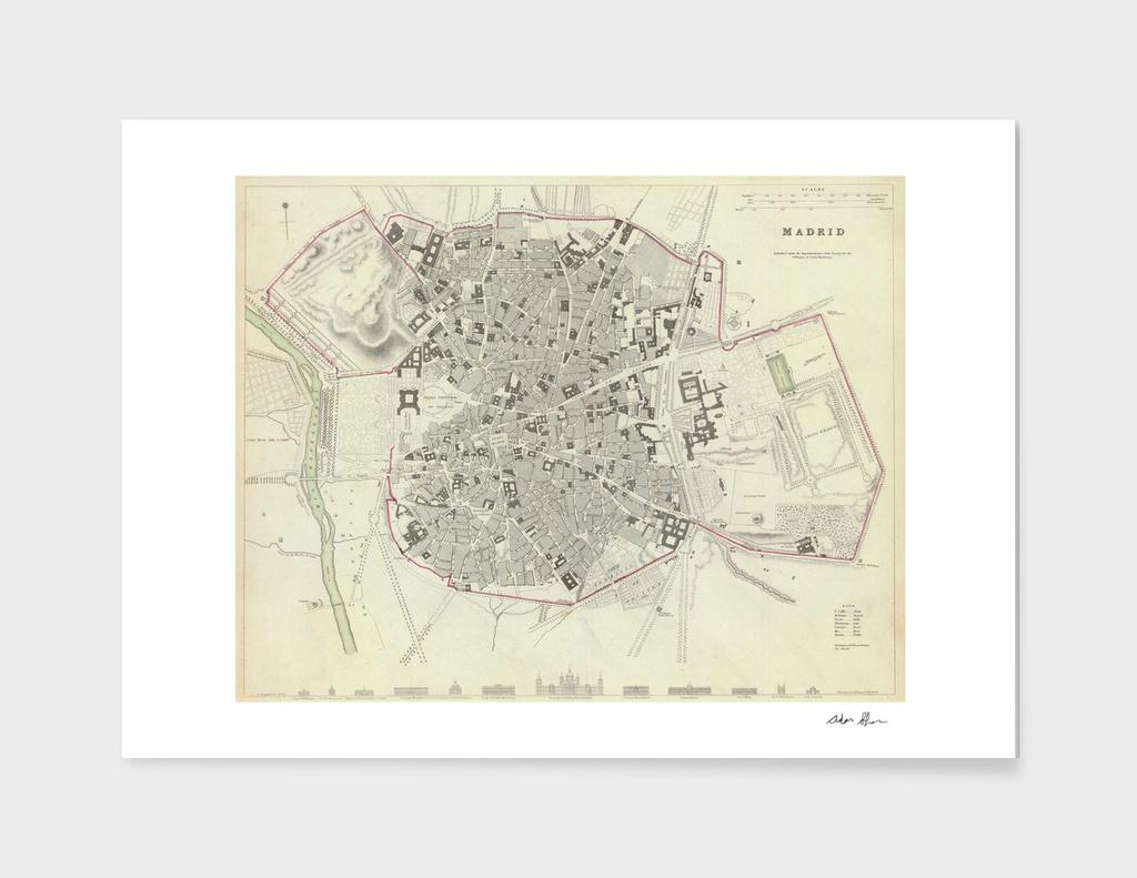Vintage Map of Madrid Spain (1831)