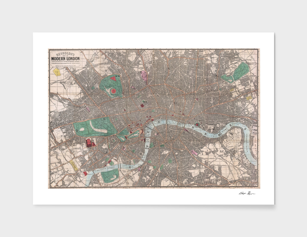 Vintage Map of London England (1862)