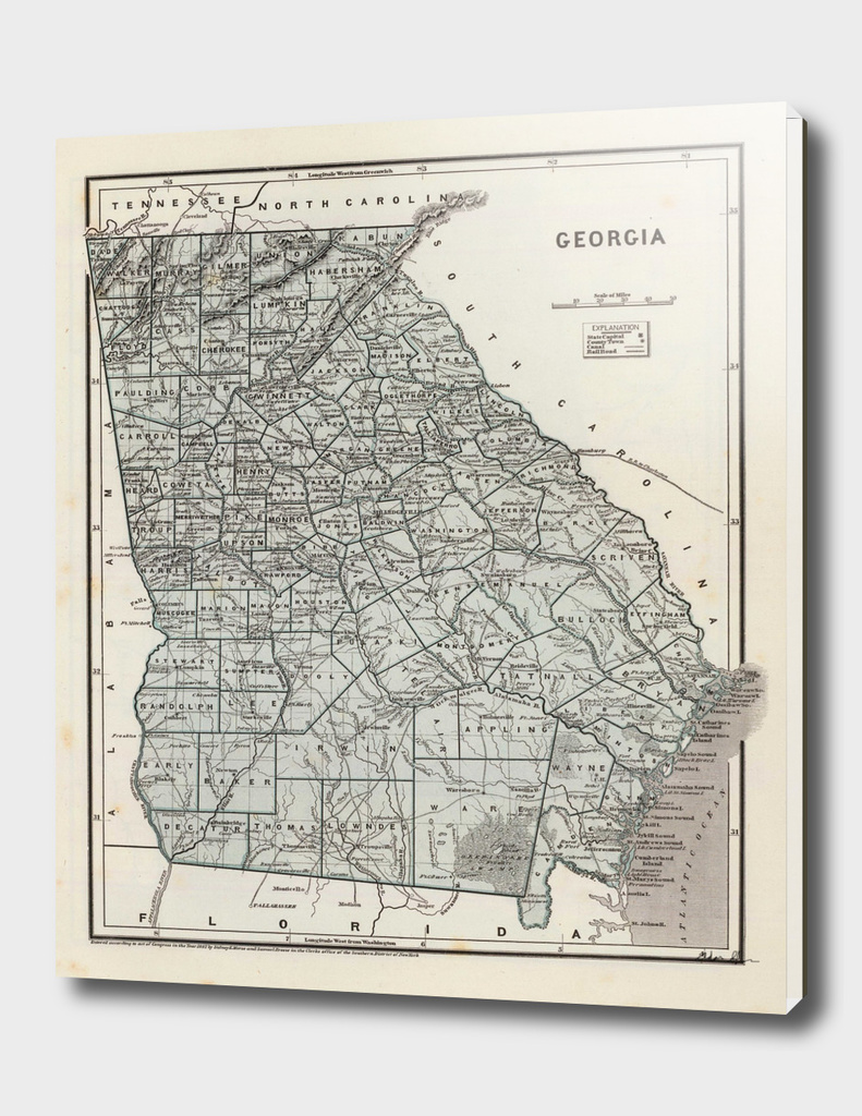Vintage Map of Georgia (1845)