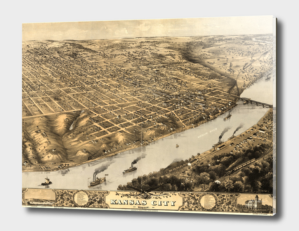 Vintage Map of Kansas City MO (1869)