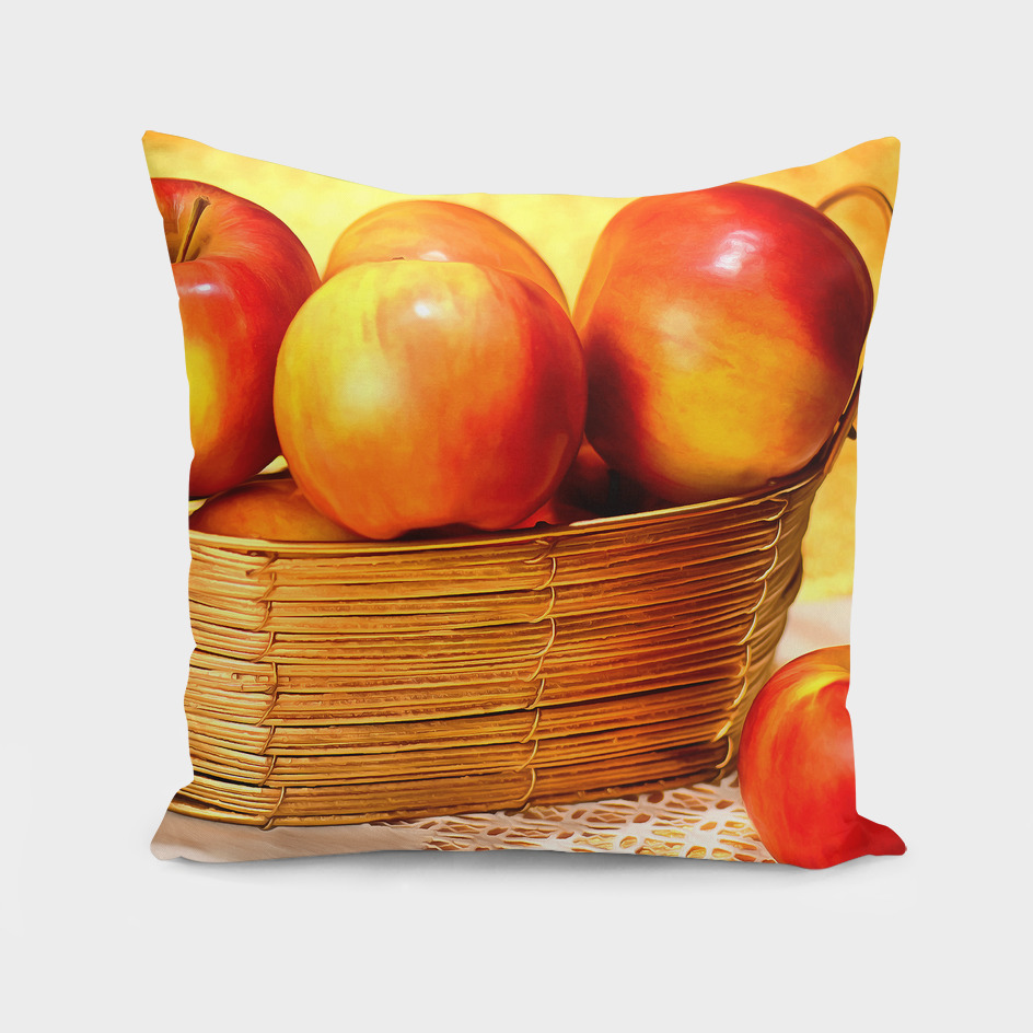 The apples in the gold basket