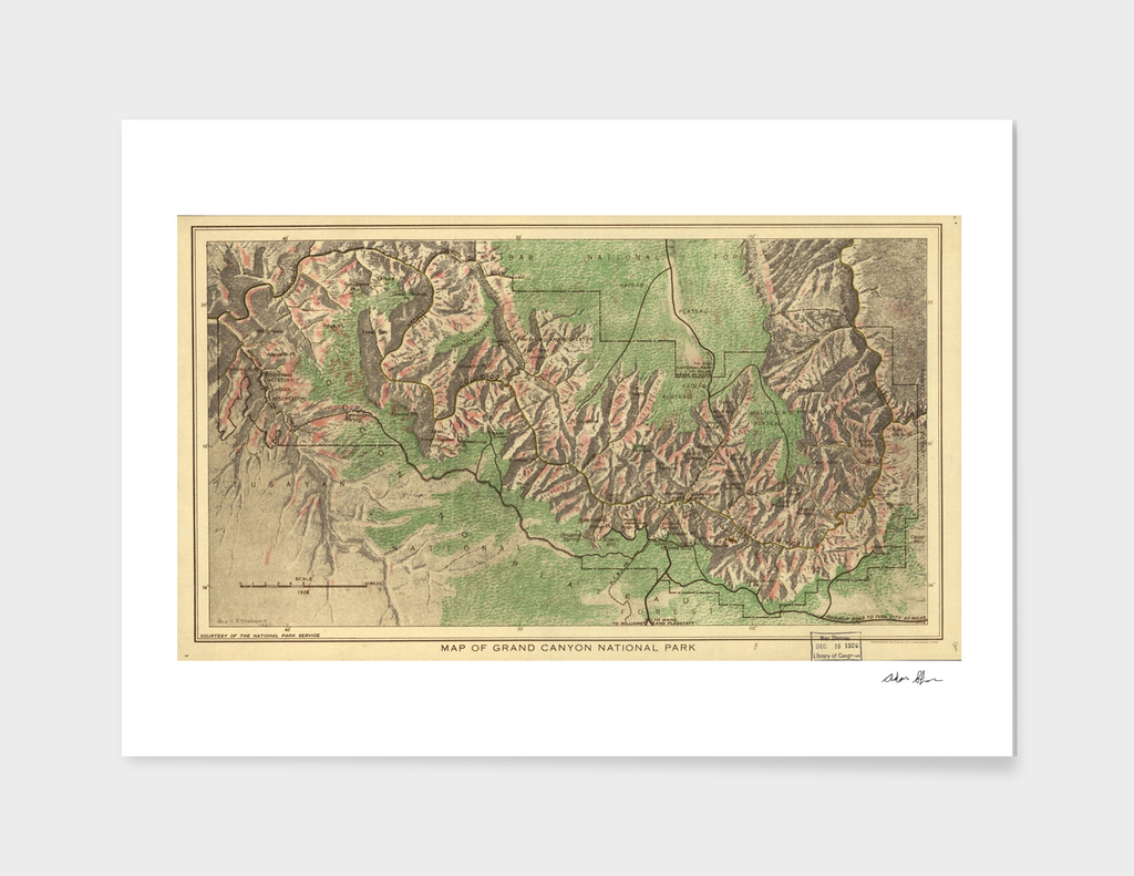 Vintage Map of The Grand Canyon (1926)