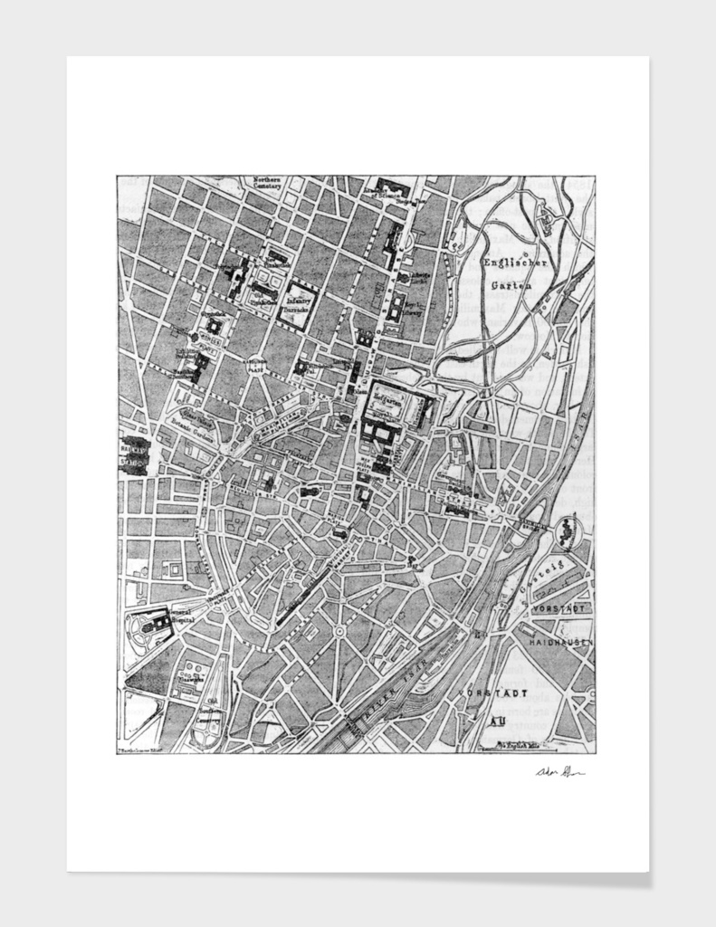 Vintage Map of Munich Germany (1884)