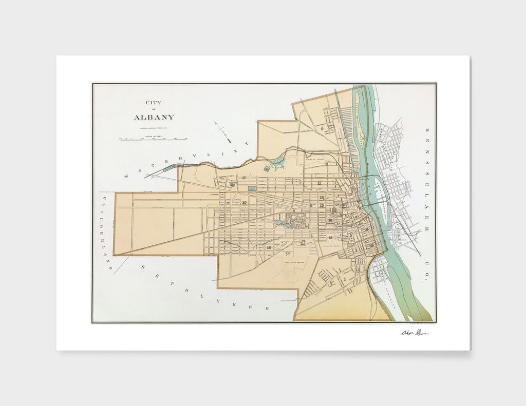 Vintage Map of Albany New York (1895)