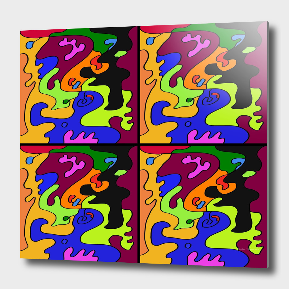 Spectrum Color 4vs4 Abstract Painting