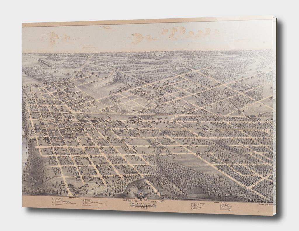 Vintage Pictorial Map of Dallas Texas (1872)