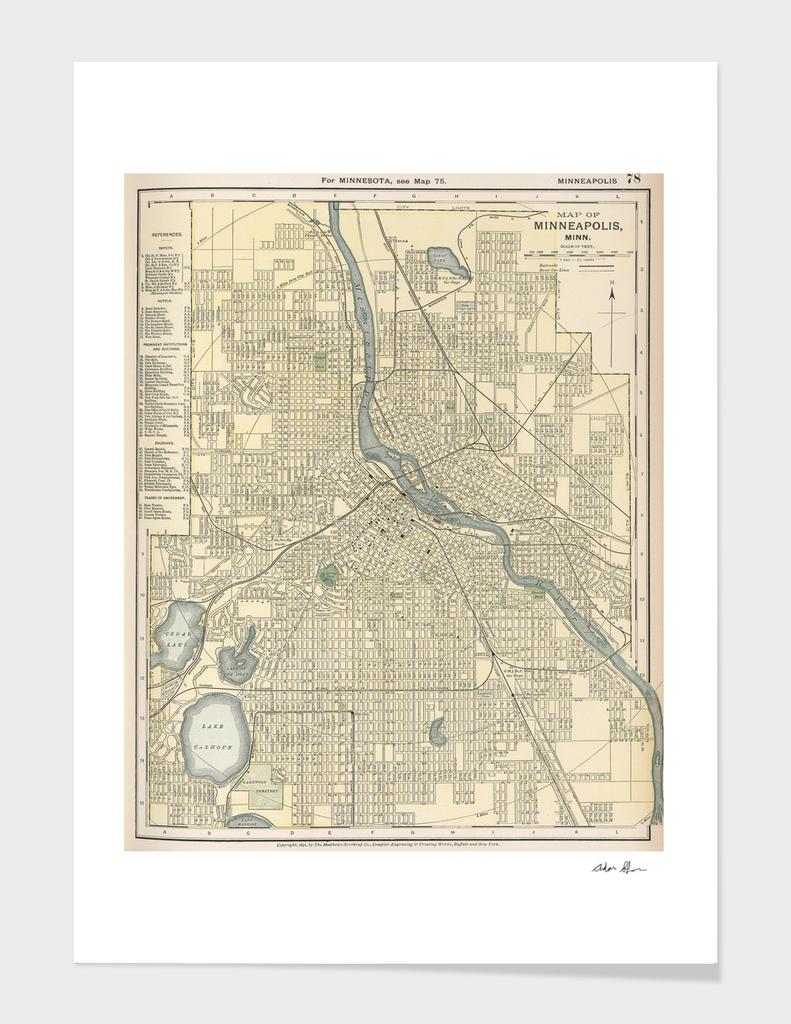 Vintage Map of Minneapolis Minnesota (1891)