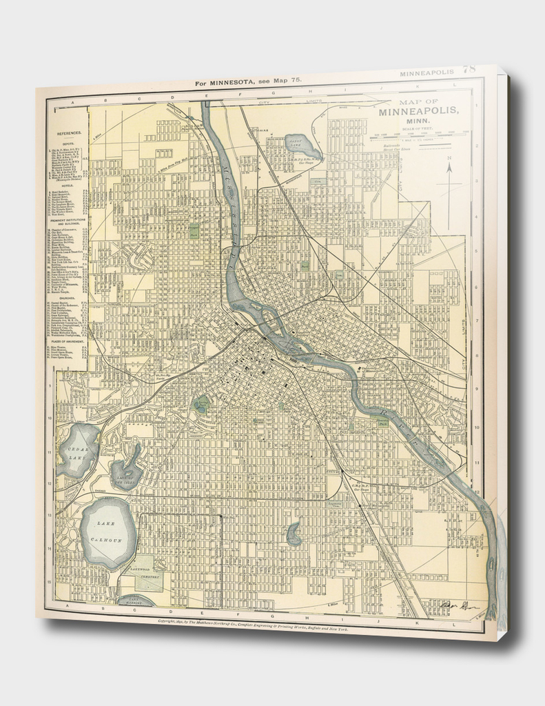 Vintage Map of Minneapolis Minnesota (1891)
