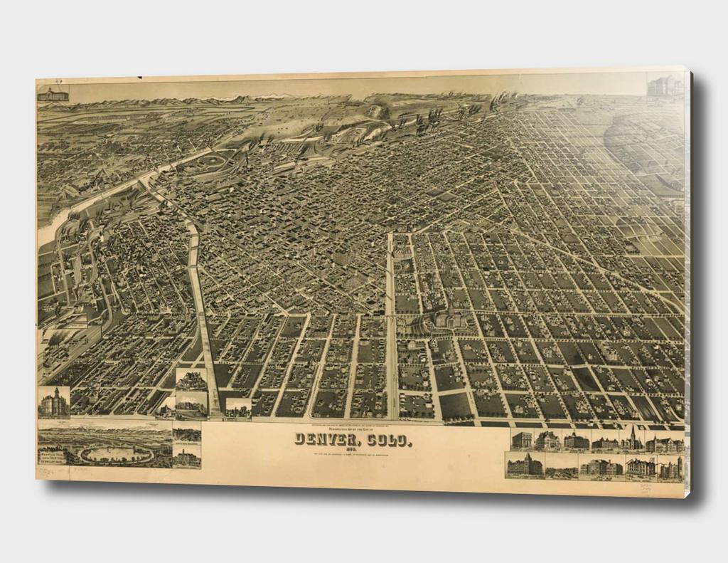 Vintage Map of Denver Colorado (1889)