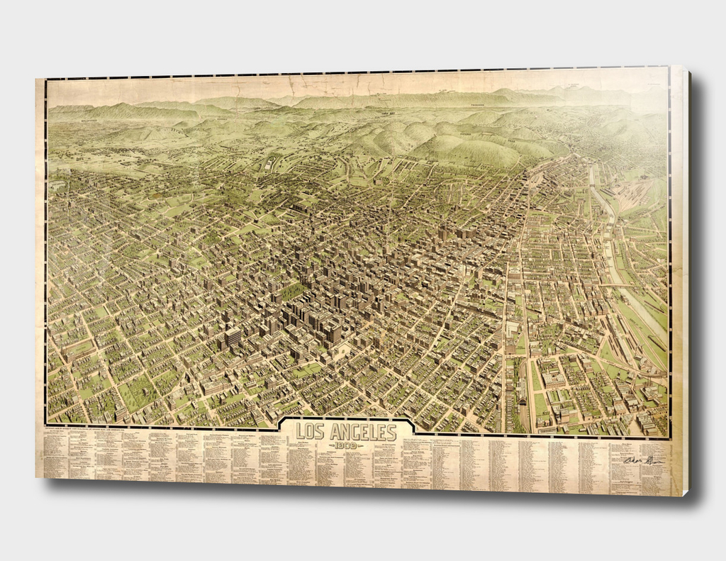 Vintage Pictorial Map of Los Angeles CA (1909)