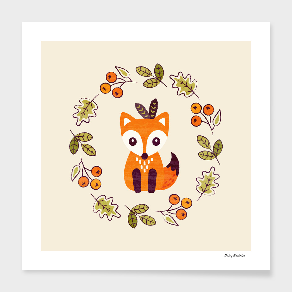 Little Fox with Autumn Berries
