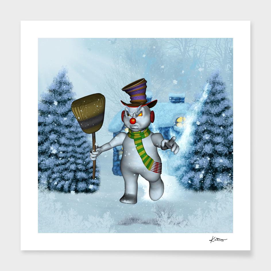 Funny grimly snowman