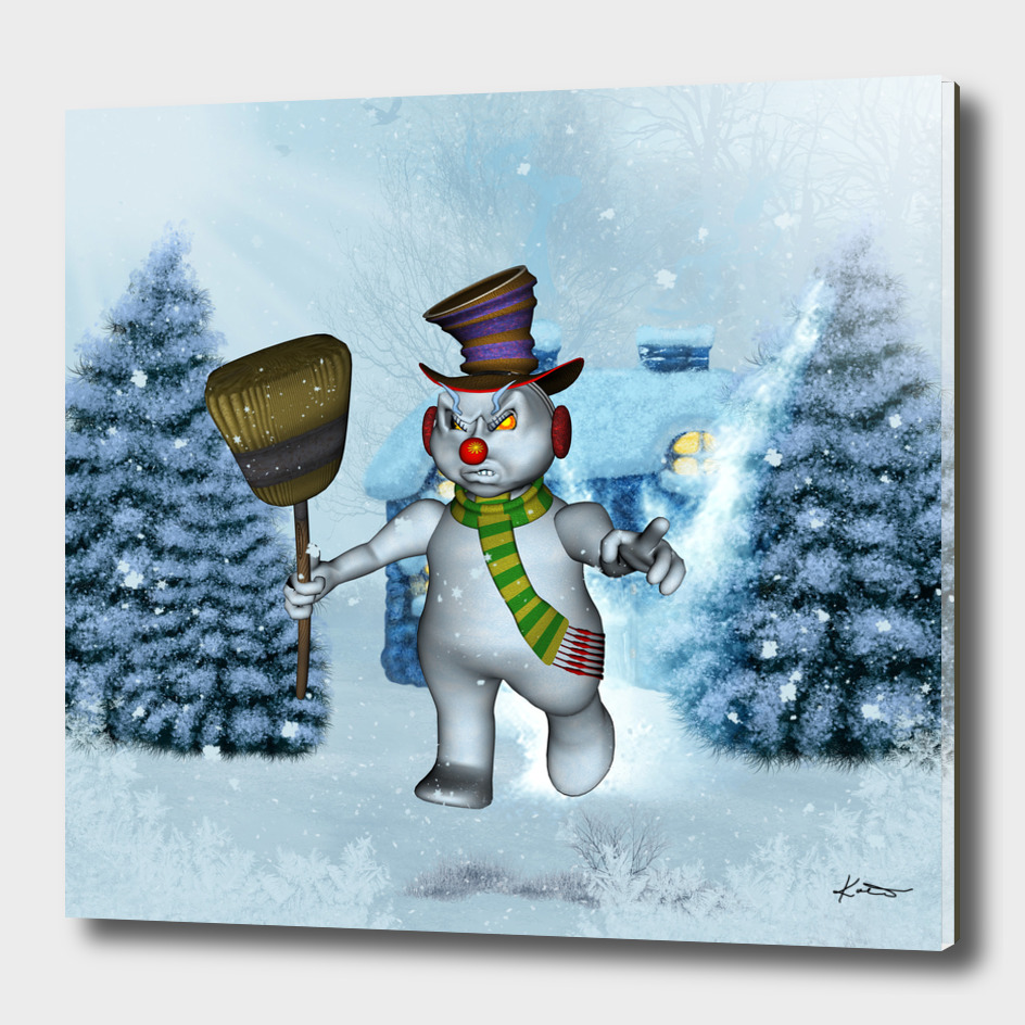 Funny grimly snowman