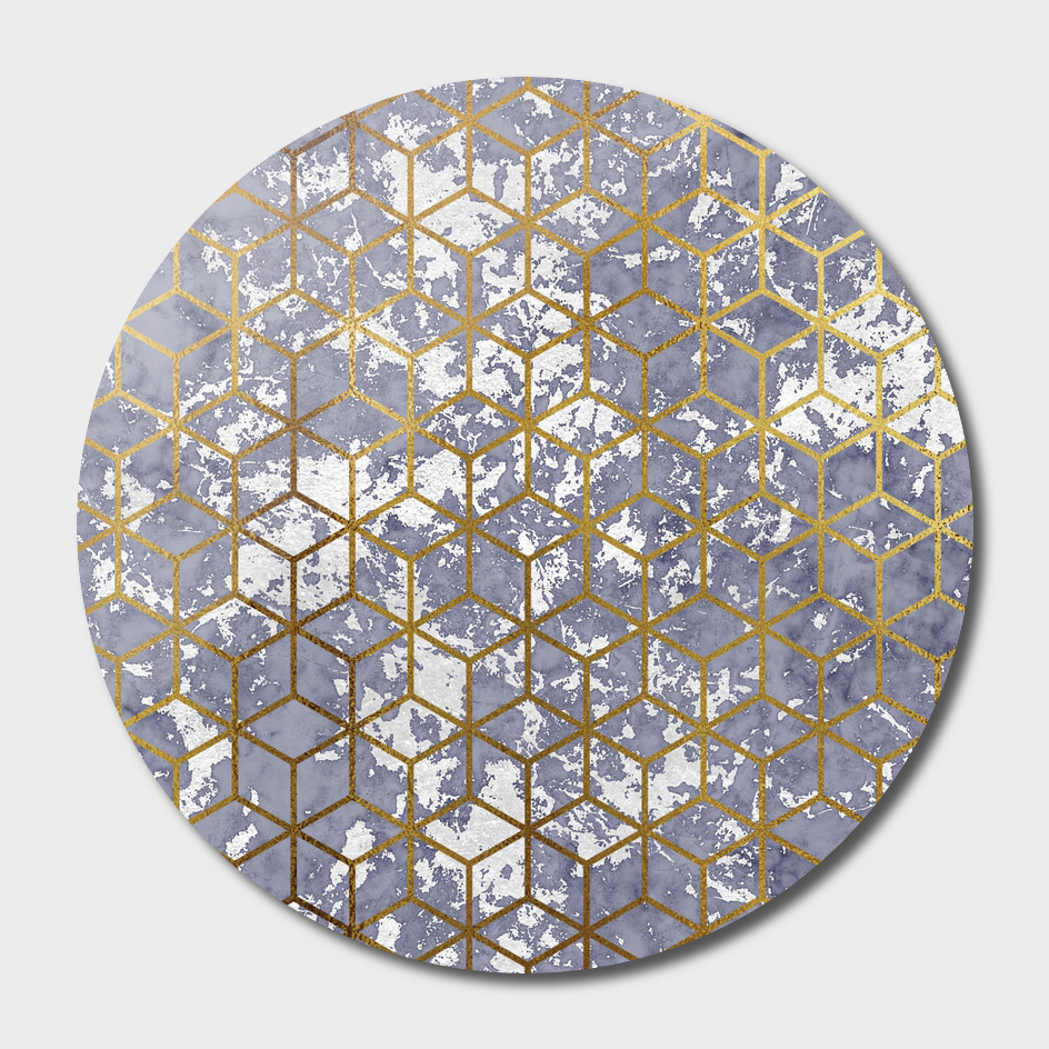 Golden line cube pattern.